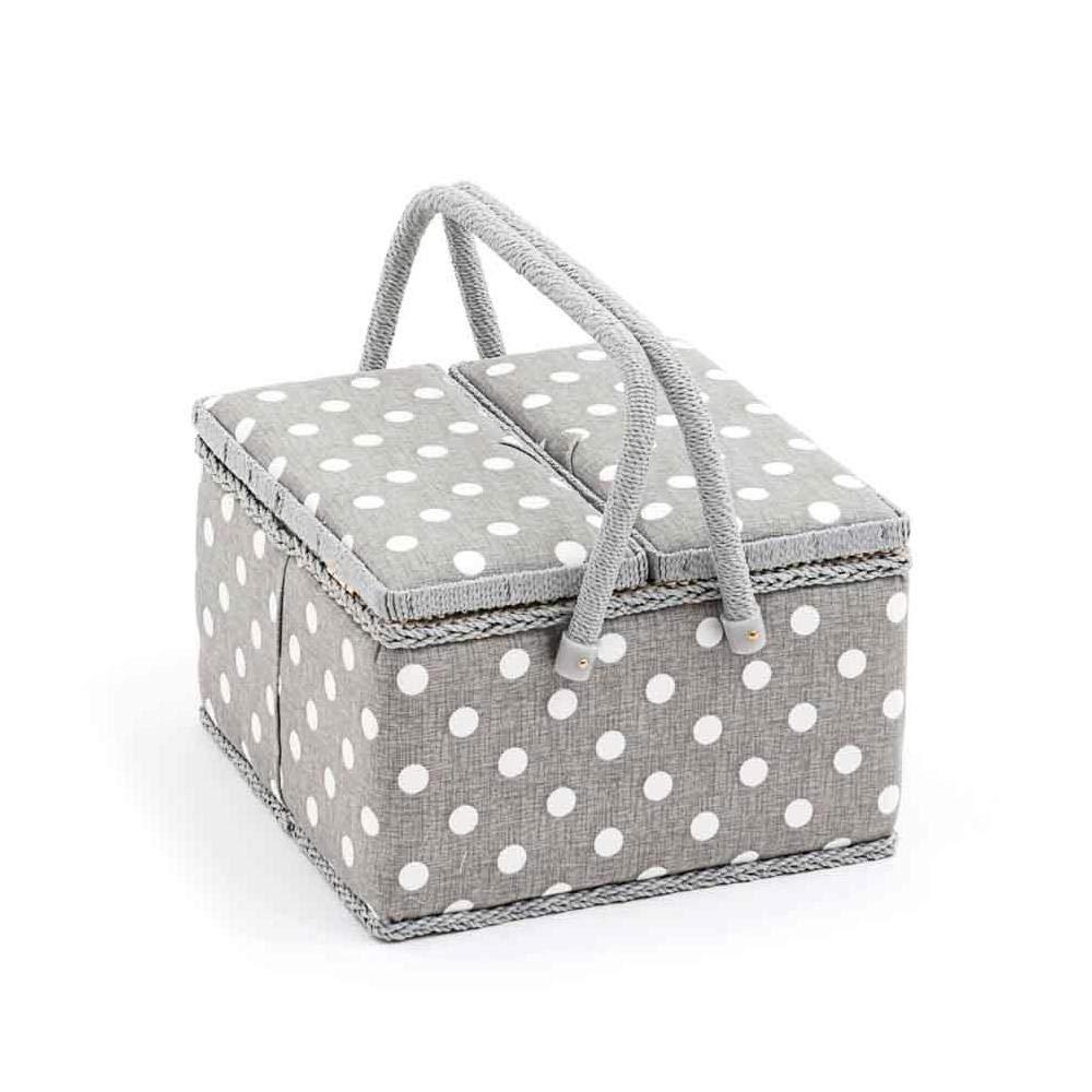 HobbyGift Value Collection: scatola da cucito (L): doppio coperchio: quadrato: grigio a pois, in cotone misto lino, assortiti, 25x 25x 17cm Groves MRLTLE\268