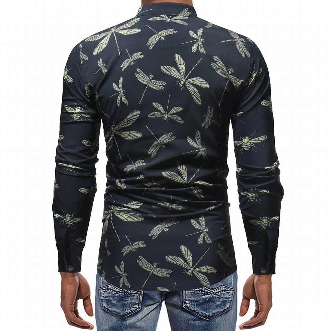 Nanquan Men Vintage Dragonfly Print Long Sleeve Slim Fit Casual Shirt