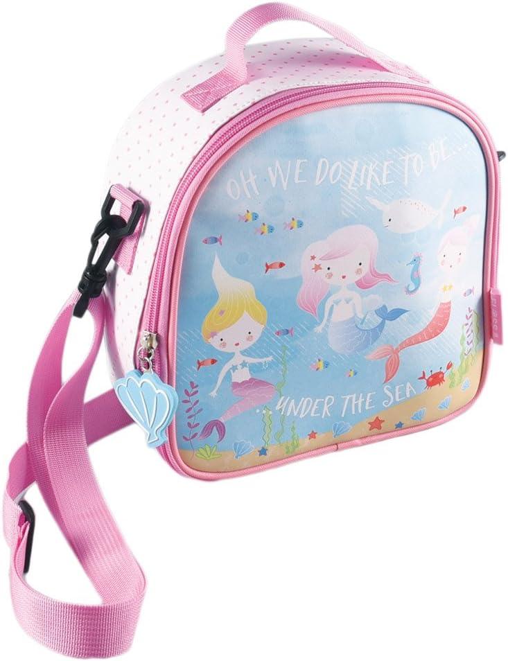 Floss /& Rock Borsa Termica per Il Pranzo con Tracolla Staccabile e Porta Bevande 8.5x8.5 inch Pink Mermaid