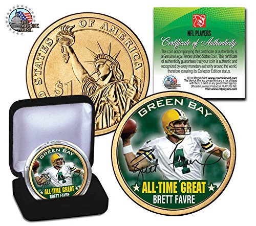 BRETT FAVRE GREEN BAY PACKERS ALL-TIME GREAT SIGNATURE PRESIDENTIAL $1 COIN! COA & DISPLAY CASE!