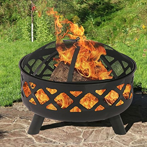 BestMassage 25″ Fire Pit Portable Outdoor Firepit Wood Fireplace Heater Patio Deck Yard For Sale