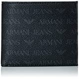 Armani Jeans Men's Small All Over Logo Pu Bi Fold Wallet