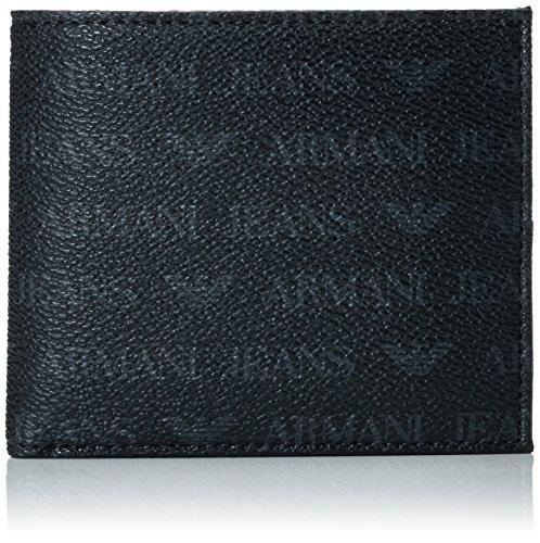 Armani Jeans Men's Small All Over Logo Pu Bi Fold Wallet, Black, One Size