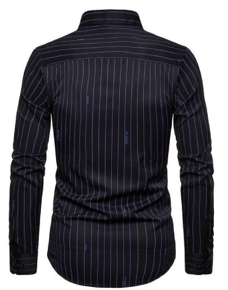 HANA+DORA Men Stripe Cotton Fashion Long Sleeve Button Down Dress Shirt