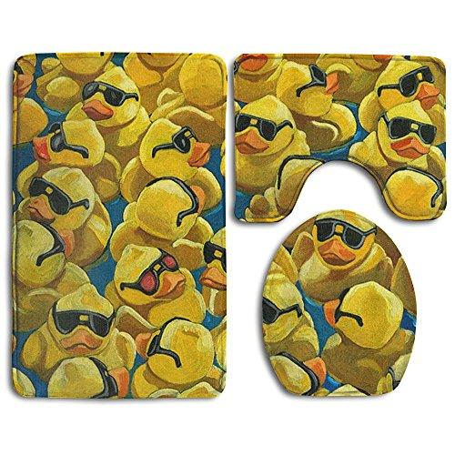 .jpg 3-Piece Soft Bath Rug Set Includes Bathroom Mat Contour Rug Lid Toilet Cover Home Decorative Doormat ()