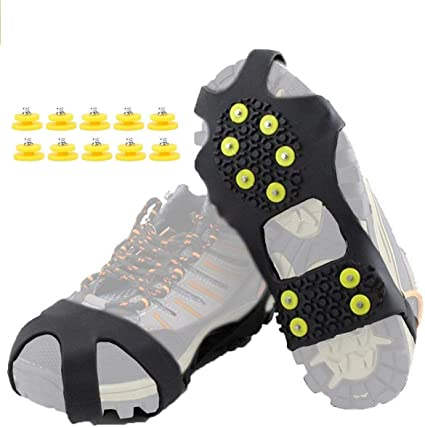 Bumplebee Unisex 8 Teeth Stainless Steel Anti-Slip Ice Cleats Ice Grippers Shoe Boot Grips Crampons Snow Spikes Grips Traction Cleats