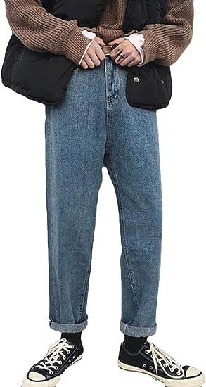 YiTongジーンズ メンズ ブルー デニムズボン 男性 ゆったり 無地 秋冬 防寒 韓国風 ファッション 薄手 厚手 ワイドパンツ テーパードパンツ 九分丈 オシャレ 裏起毛 通勤 通学