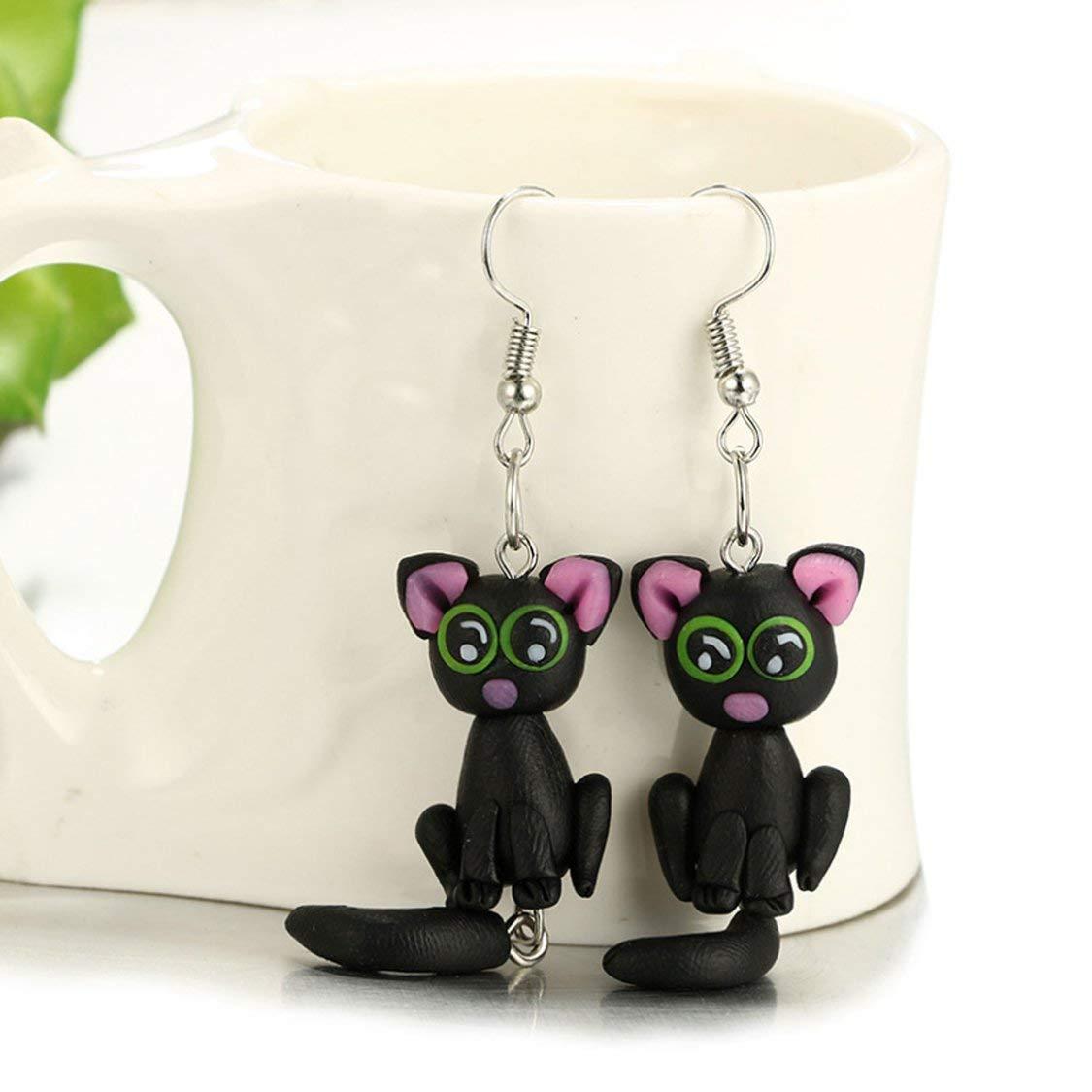 Black Big Eye Black cat Manual Three-Dimensional Polymer Clay Earrings Handmade Polymer Clay YellowEarrings
