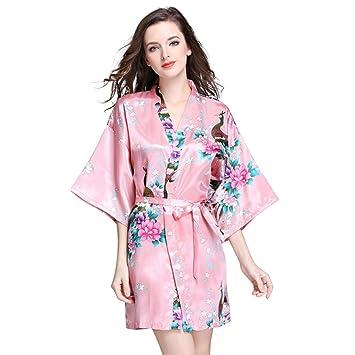 HOQTUM Pijamas de Mujer, Batas de Bata de Estilo Kimono de Estilo japonés Vestidos de Novia Vestidos de Dama Ropa de hogar Sexy y cómoda Mujer (S-XXL): ...