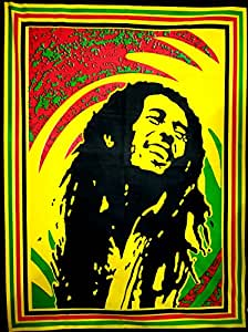 "ANJANIYA Bob Marley Beautiful Bohemian Room Dorm Decor Hippie Small Boho Rasta Tapestry Poster Size 40""x30"" Psychedelic Reggae Tapestries Wall Art Hanging Cotton Gypsy Posters (Bob Marley Laugh)"
