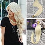 Moresoo 20 Inch 50strands/50g I Tip Cold Fusion Hair Extensions White Blonde Color 60 100% Remy Human Hair Extensions Pre Bonded Stick I Tip Hair Extensions