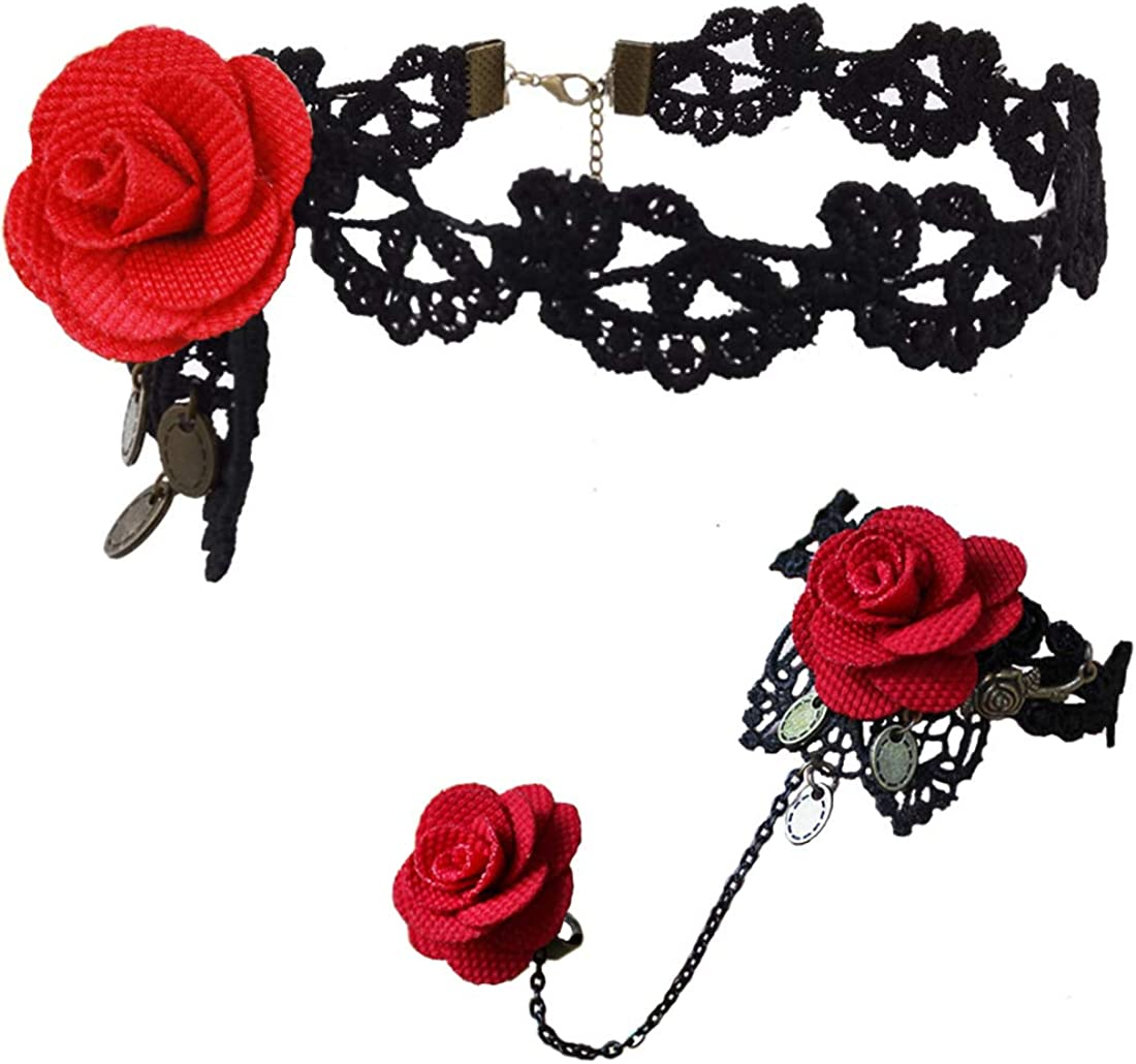 Vintage Victorian Gothic Black Lace Rose Necklace Choker Halloween Costume