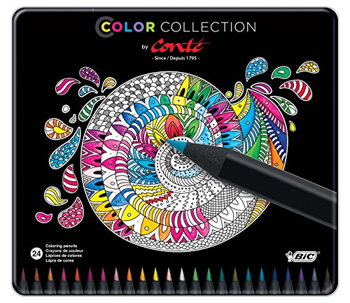 BIC Color Collection by Conte Coloring Pencils, Assorted Colors, - Colored Bic Pencil