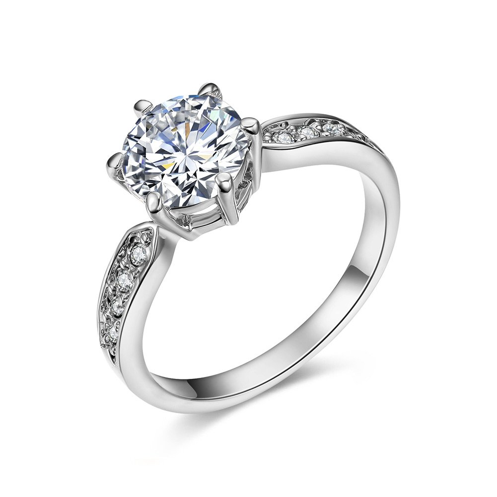 SPILOVE Serend 18k White Gold Plated 1.5ct Heart and Arrows Cut Cubic Zirconia Solitaire Wedding Engagement Rings, Size 7