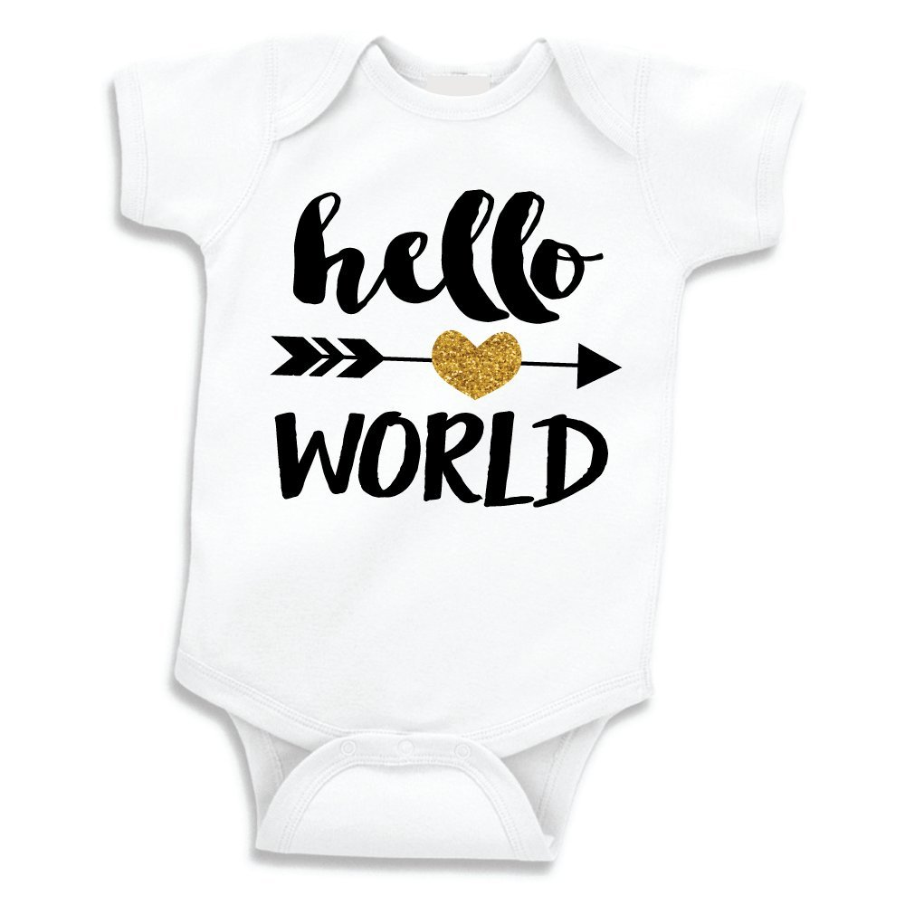 7ed8f57b Amazon.com: Hello World Shirt, Baby Girl Clothes, Newborn Glitter Bodysuit  (0-3 Months): Baby