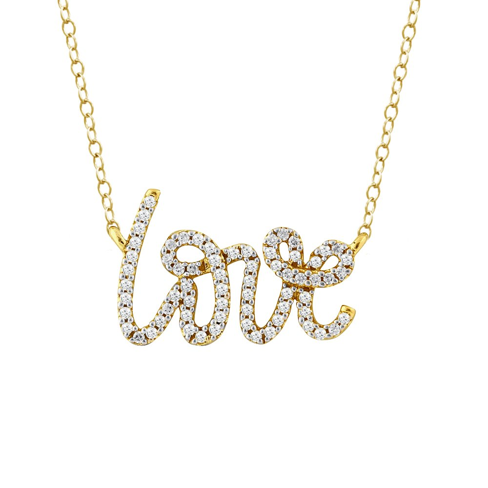 Love Word Pendant For Women 925 Sterling Silver Diamond Accent Necklace Free 18'' Cable Chain (1/5 cttw, I-J Color, I2-I3 )
