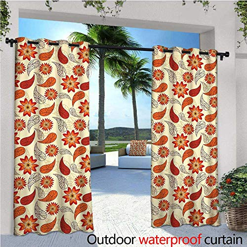 Paisley Block Light - cobeDecor Orange Exterior/Outside Curtains Red Poppy Flowers in Retro Style and Leaves Artistic Flourish Paisley Pattern for Patio Light Block Heat Out Water Proof Drape W120 x L96 Orange Red Peach