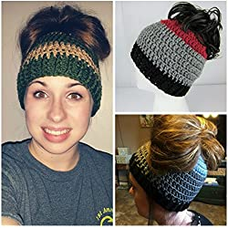 Handmade Girls Messy Bun Hat, Pick your colors, Cheerleader Hat, Runners Hat, Crochet Pony Tail Hat, Womens, teen, Juniors, Adult, Women