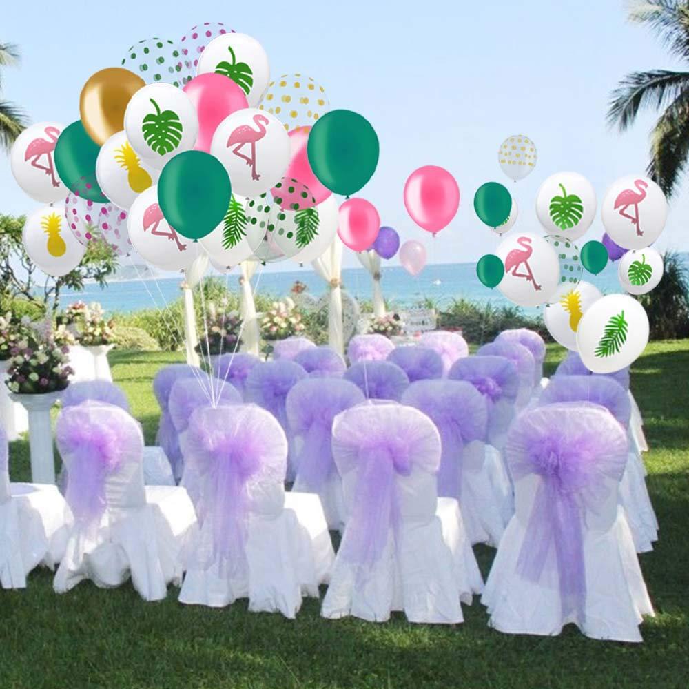 60 Pacco Hawaii Palloncini Festa Tropicale 12 Pollici Flamingo Ananas Foglia Tropicale Rotondo Puntini Palloncini in Lattice Partito con Puntini per Hawaii Decorazioni per Feste Compleanno di Nozze.