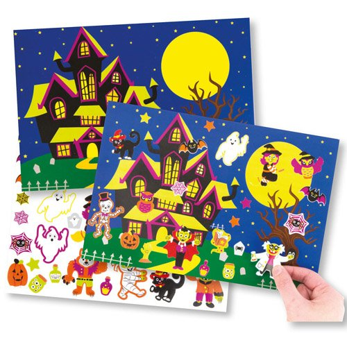 Baker Ross Halloween Sticker Scenes Perfect for Halloween Children's Arts, Crafts and Decorating for Boys and Girls (Pack of 4) -