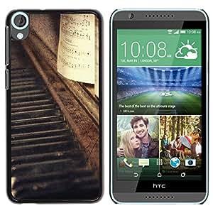 Be Good Phone Accessory // Dura Cáscara cubierta Protectora Caso Carcasa Funda de Protección para HTC Desire 820 // Vignette Notes Music Vintage