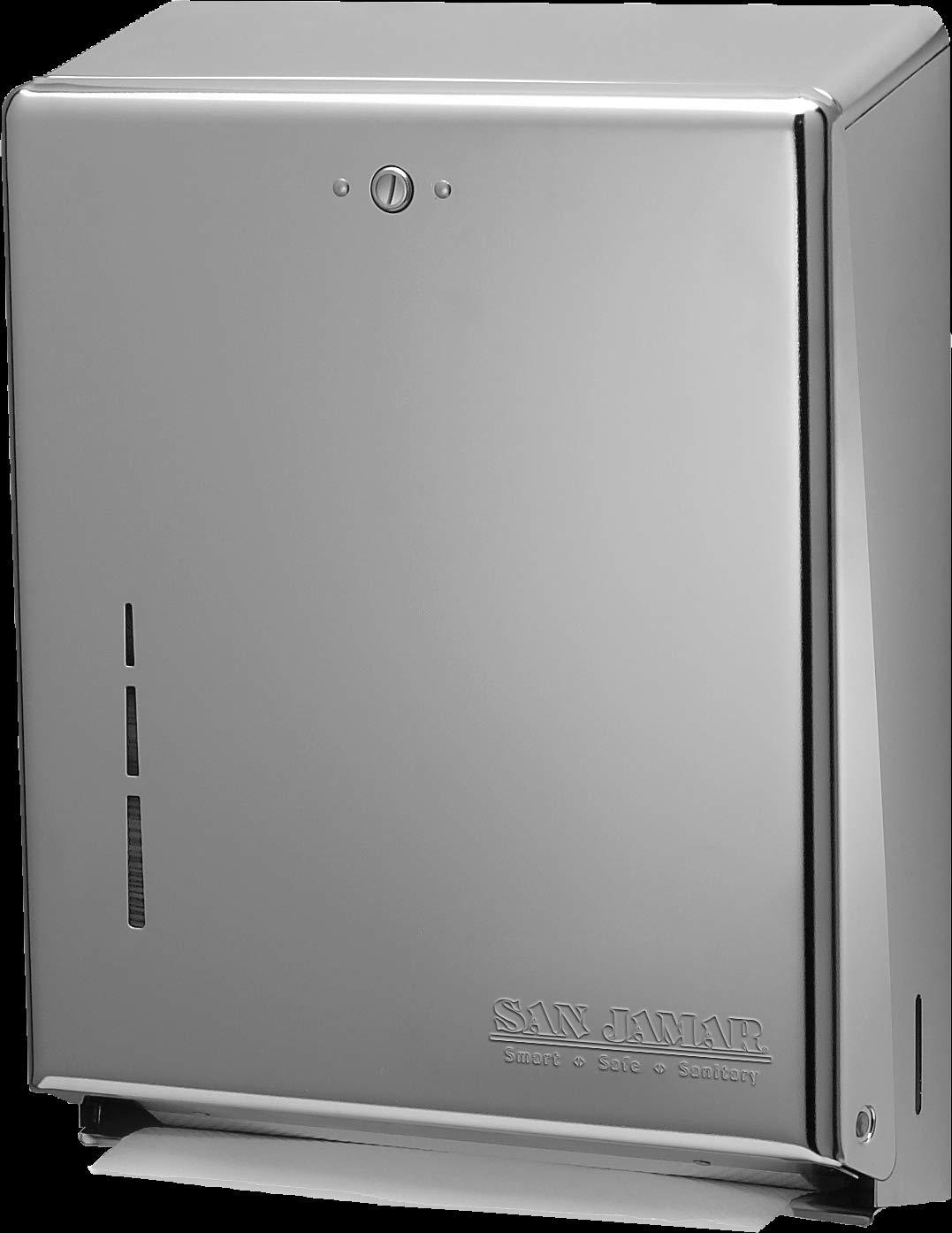 150 C-Fold Towel Capacity Chrome San Jamar T1950XC Mini C-Fold//Multifold/Commercial Towel Dispenser 250 Multifold