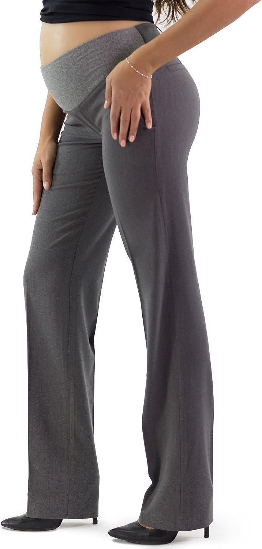 Made in Italy Gamba Dritta Bucarest Pantalone Premaman Elegante Ideali Per Lufficio o cerimonia Tessuto Cascante Elasticizzato