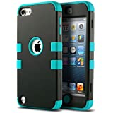 iPod 5 case, ULAK iPod Touch 6 Case 3in1 Hybrid Impact Shockproof Soft Silicone Bumper Case Hard PC Protective Cover for Apple iPod Touch 5th 6th Generation (Black/Blue)
