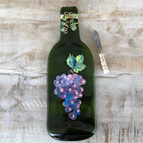 Grape Serving Tray (Grapes Melted Wine Bottle Tray Spoon Rest)