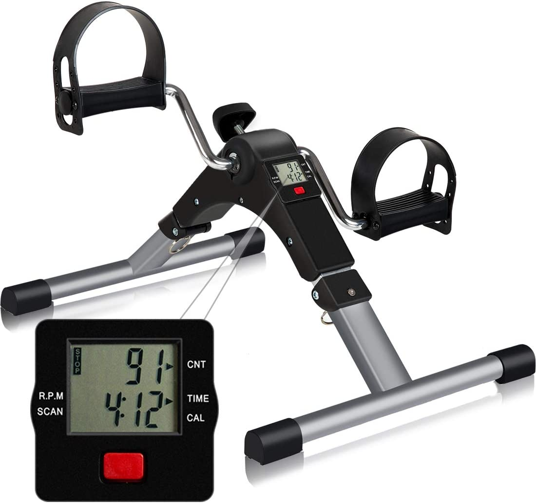 TABEKE Pedal Exerciser, Sitting Pedal Exerciser for Arm/Leg Workout, Portable Bike Pedal Exerciser with LCD Display