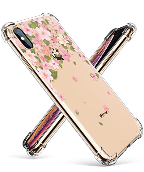 9f18edbc2 GVIEWIN Compatible for iPhone Xs/X Case, Clear Flower Pattern Design Soft &  Flexible