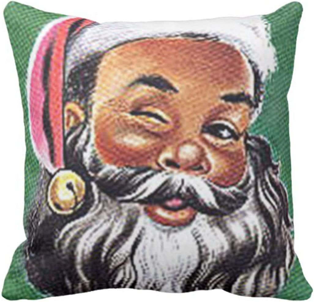 Rdsfhsp Throw Pillow Cover African American Black Santa Claus Christmas Decorative Pillow Case Home Decor Square Cushion Pillowcase