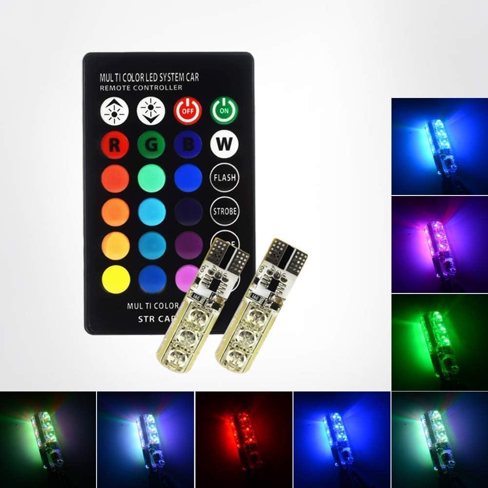 Safego Newest 2PCS T10 W5W Luz de La Lámpara de La Atmósfera del Coche Con Control Remoto de Rayos Infrarrojos RGB W5W LED Bombilla 6-5050SMD 16 Colores