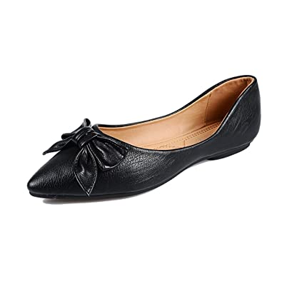 dcba43b70ec Meeshine Womens Classic Pointy Toe Ballet Flats Slip On Suede Flat Shoes  Black-03 US
