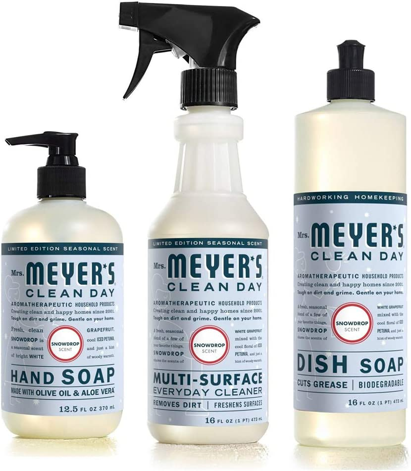 New Limited Edition Seasonal Winter Christmas Scent Mrs. Meyer's Clean Day Kitchen Basics Set: Dish Soap, Hand Soap, Everyday Cleaner (Snow Drop)