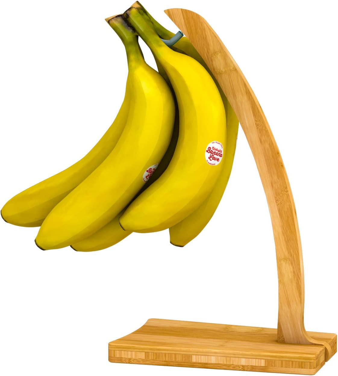 Banana Hanger Bamboo Holder Stand - Sturdy Foldable Display with Hook for Home or Bar, Countertop Food Storage