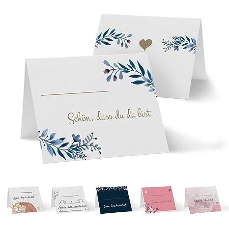 Partycards 50 Tischkartenplatzkarten Din A7 Für Hochzeit Geburtstag Kommunion Taufe Din A7 Blätter Blau