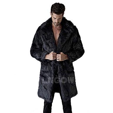 68d7c7476a4 LNGOW Men Luxury Faux Fur Jacket Long Winter Warm Coat Soft Overcoat  Outerwear (Black