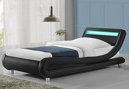 Awesome Madrid LED Lights Modern Designer Bed Frame  Black Single Size (Single 3ft,  Black