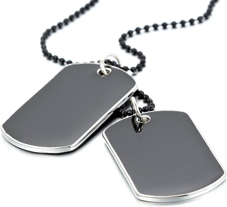 JewelryWe Collier Pendentif Homme Personnalisation Gravure Dog Tag Double Plaque Style Militaire Alliage Bijoux Couleur Noir Avec Sac Cadeau