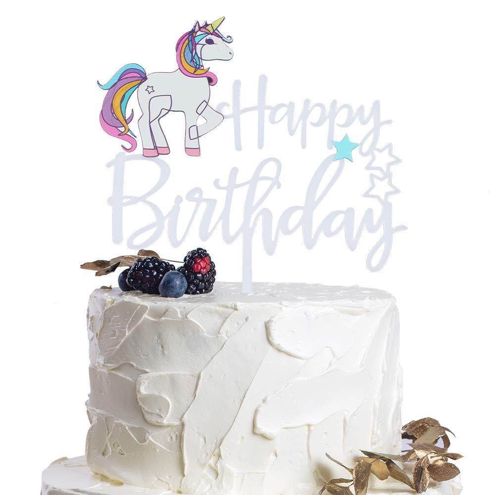 Amazon Com Unicorn Themed Happy Birthday Little Star Acrylic Cake