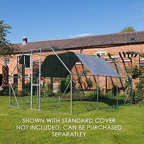 Candora Outdoor Walk In Chicken Dog Pen Run Cage Coop House Kennel Large Metal 4x2 m