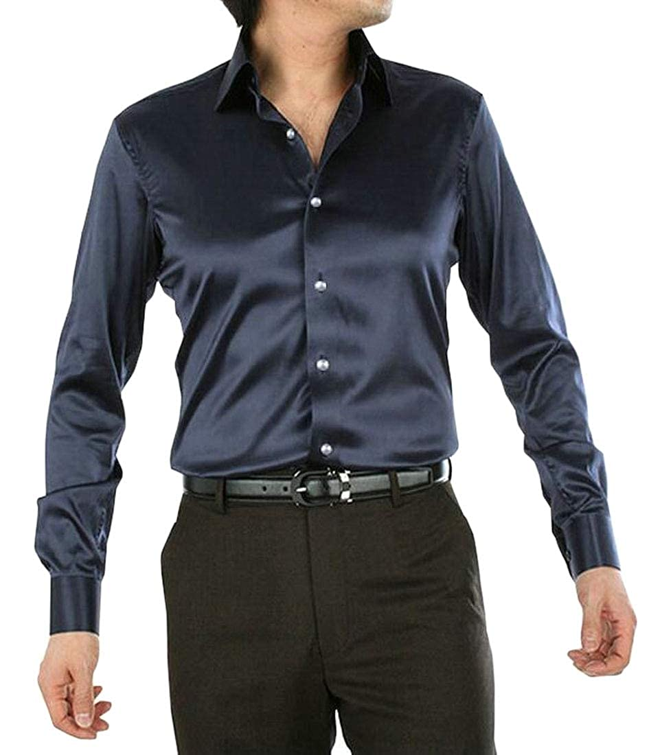 WSPLYSPJY Mens Simple Slim Long Sleeve Shiny Satin Solid Button Down Dress Shirt