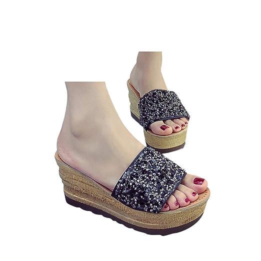 fd92e9e538f Amazon.com: Veodhekai Women Flip Flops Wedges Shoes Mid-Heels ...