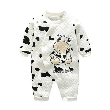 6ecdf32dc68df Fyx Bébé Filles Garçons Unisexe Ensemble de Pyjama Vache Manches Longues  Chaud pour Enfants (0