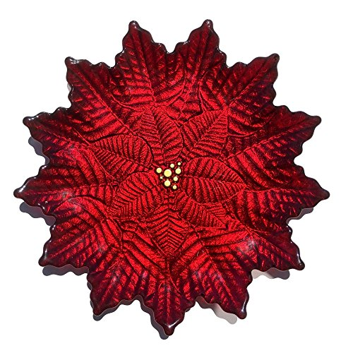 Red Pomegranate 1852-4 Poinsettia Salad Plate, Red Gold by Red Pomegranate
