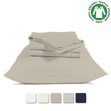BIOWEAVES 100% Organic Cotton 4 Piece Bed Sheet Set, 300 Thread Count Soft Sateen Weave GOTS Certified with deep Pockets (Queen, Sand)