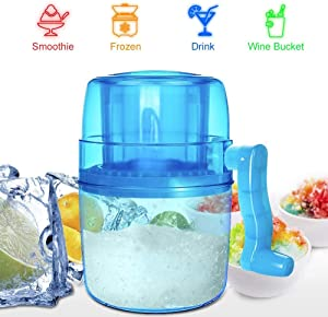 Manual Hand Crank Operated Ice Breaker Ice Crusher Maker,Shaved Ice Machine, Portable Hand Crank Manual Ice Shaver Kids Shredding Snow Cone Maker Machine