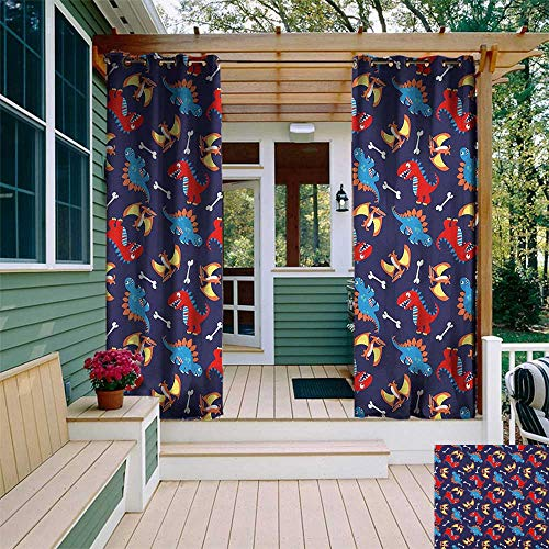 - leinuoyi Dinosaur, Sun Zero Outdoor Curtains, Three Different Cartoon Dinosaurs Funny Expressions and Bones Kids Theme, Set for Patio Waterproof W96 x L96 Inch Navy Blue Orange Red