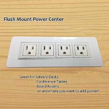 AXIL Z Flush Mount Power/Data Center   4 Power Outlets   White   72u0026quot